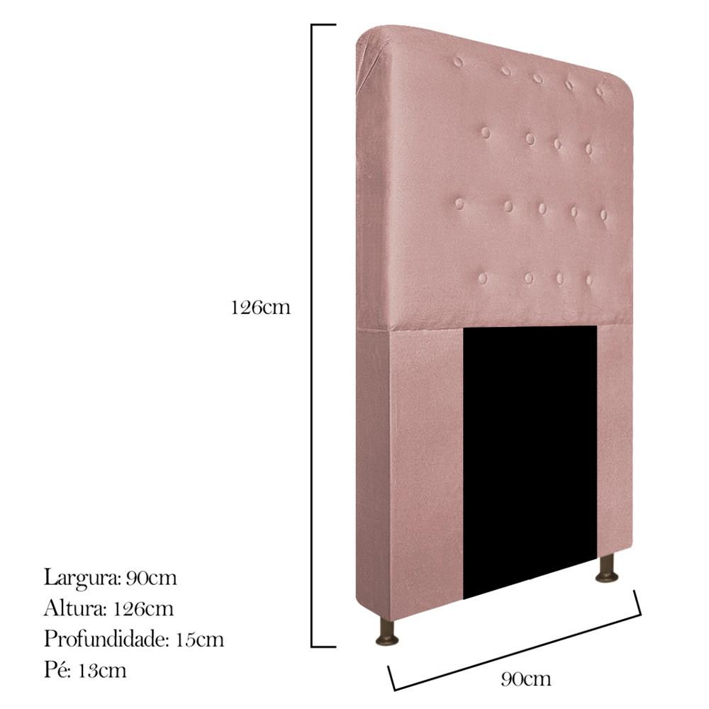 Cabeceira Estofada Brenda 90 cm Solteiro Com Botonê  Suede Rosê - ADJ Decor