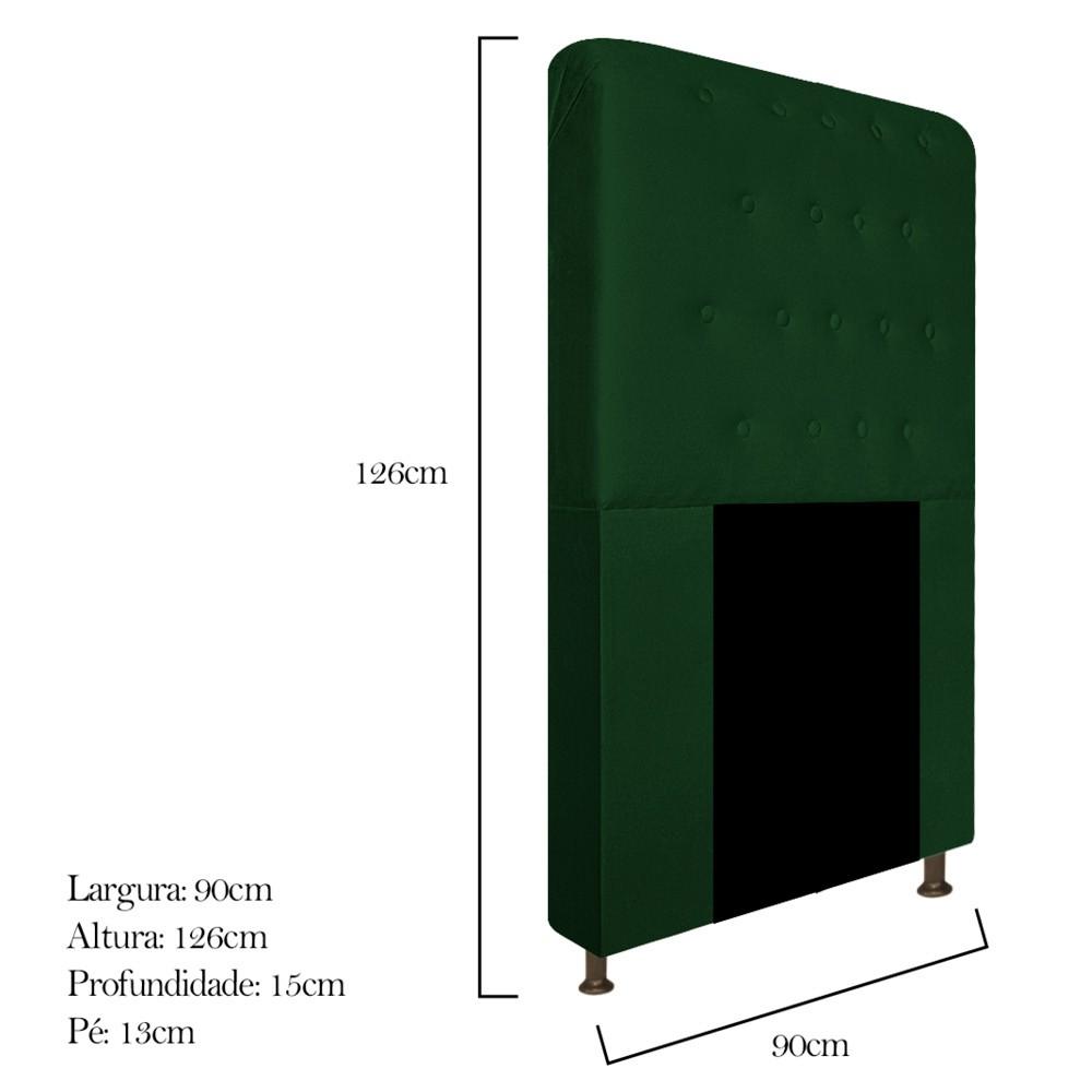 Cabeceira Estofada Brenda 90 cm Solteiro Com Botonê  Suede Verde - ADJ Decor