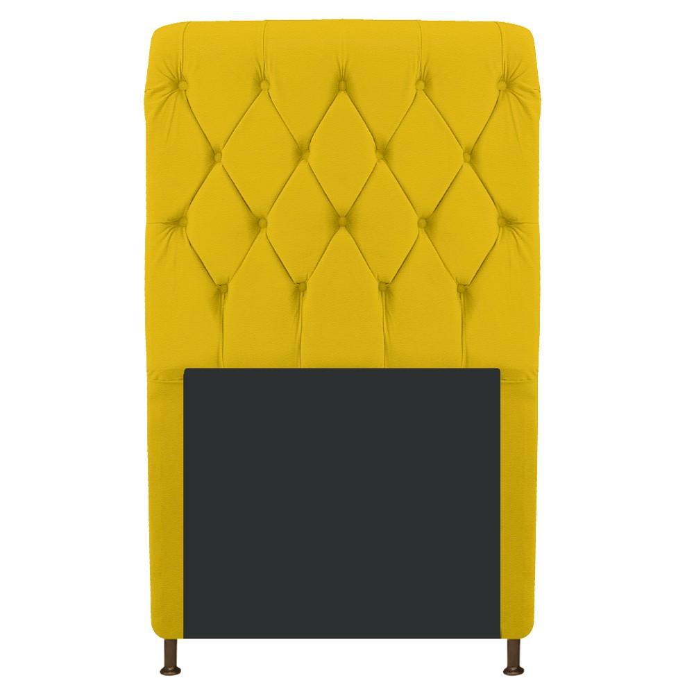 Cabeceira Estofada Cristal 100 cm Solteiro Com Capitonê Corano Amarelo - ADJ Decor