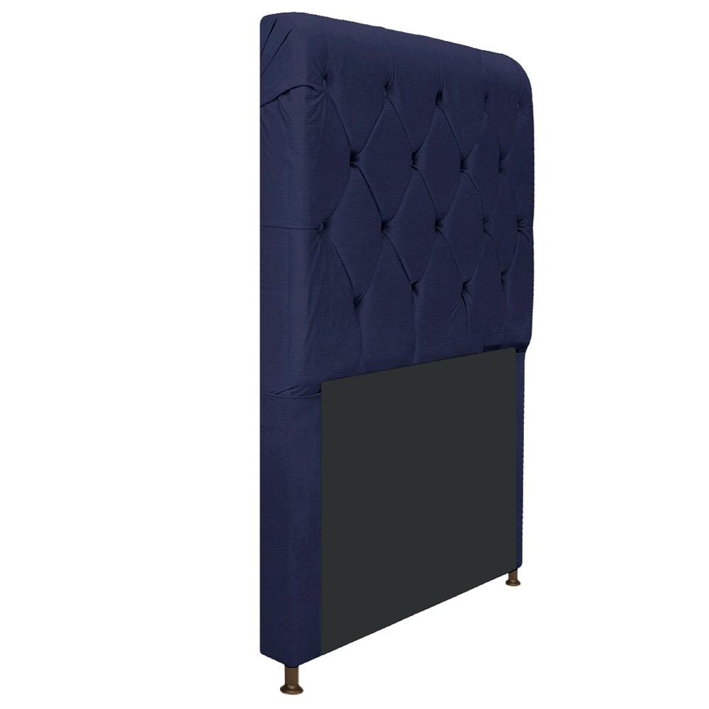 Cabeceira Estofada Cristal 100 cm Solteiro Com Capitonê Corano Azul Marinho - ADJ Decor