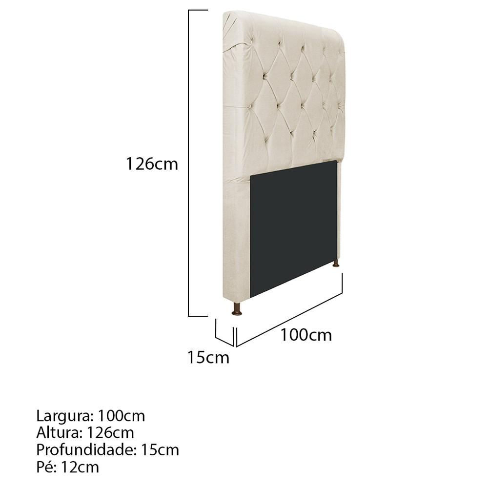 Cabeceira Estofada Cristal 100 cm Solteiro Com Capitonê Corano Bege - ADJ Decor