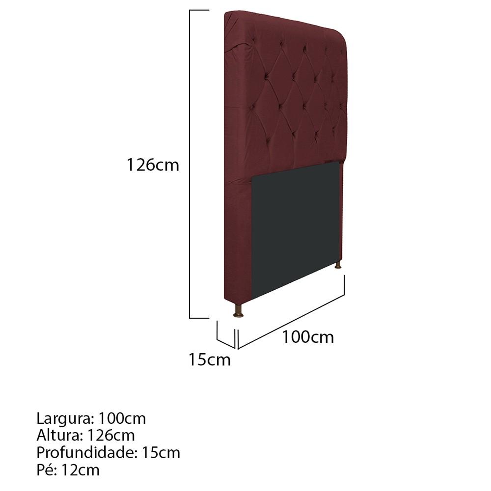 Cabeceira Estofada Cristal 100 cm Solteiro Com Capitonê Corano Bordô - ADJ Decor