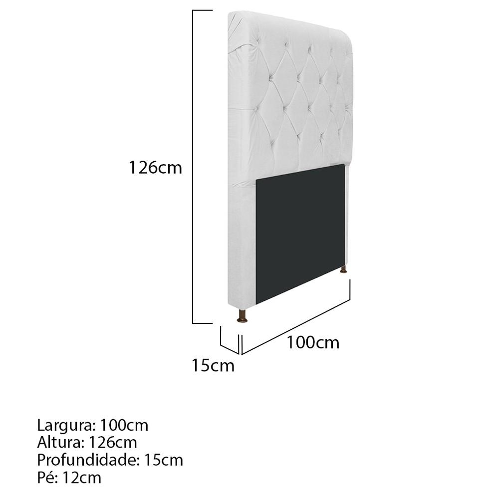 Cabeceira Estofada Cristal 100 cm Solteiro Com Capitonê Corano Branco - ADJ Decor