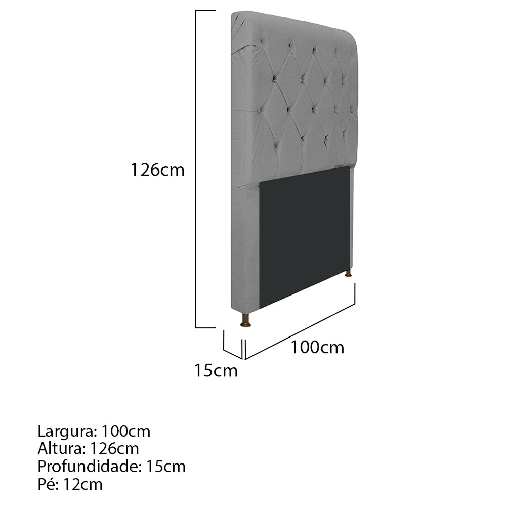 Cabeceira Estofada Cristal 100 cm Solteiro Com Capitonê Corano Cinza - ADJ Decor