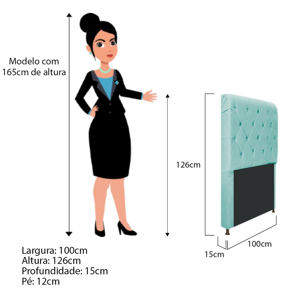Cabeceira Estofada Cristal 100 cm Solteiro Com Capitonê Suede Azul Tiffany - ADJ Decor