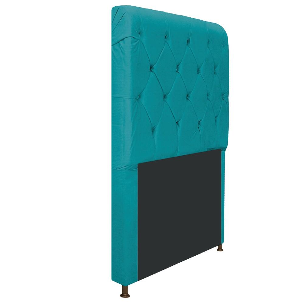 Cabeceira Estofada Cristal 100 cm Solteiro Com Capitonê Suede Azul Turquesa - ADJ Decor