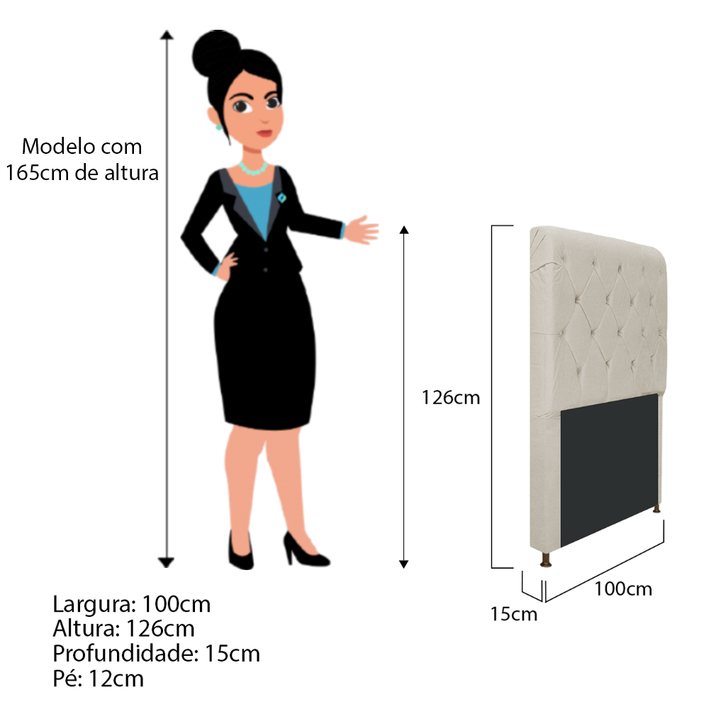 Cabeceira Estofada Cristal 100 cm Solteiro Com Capitonê Suede Bege - ADJ Decor