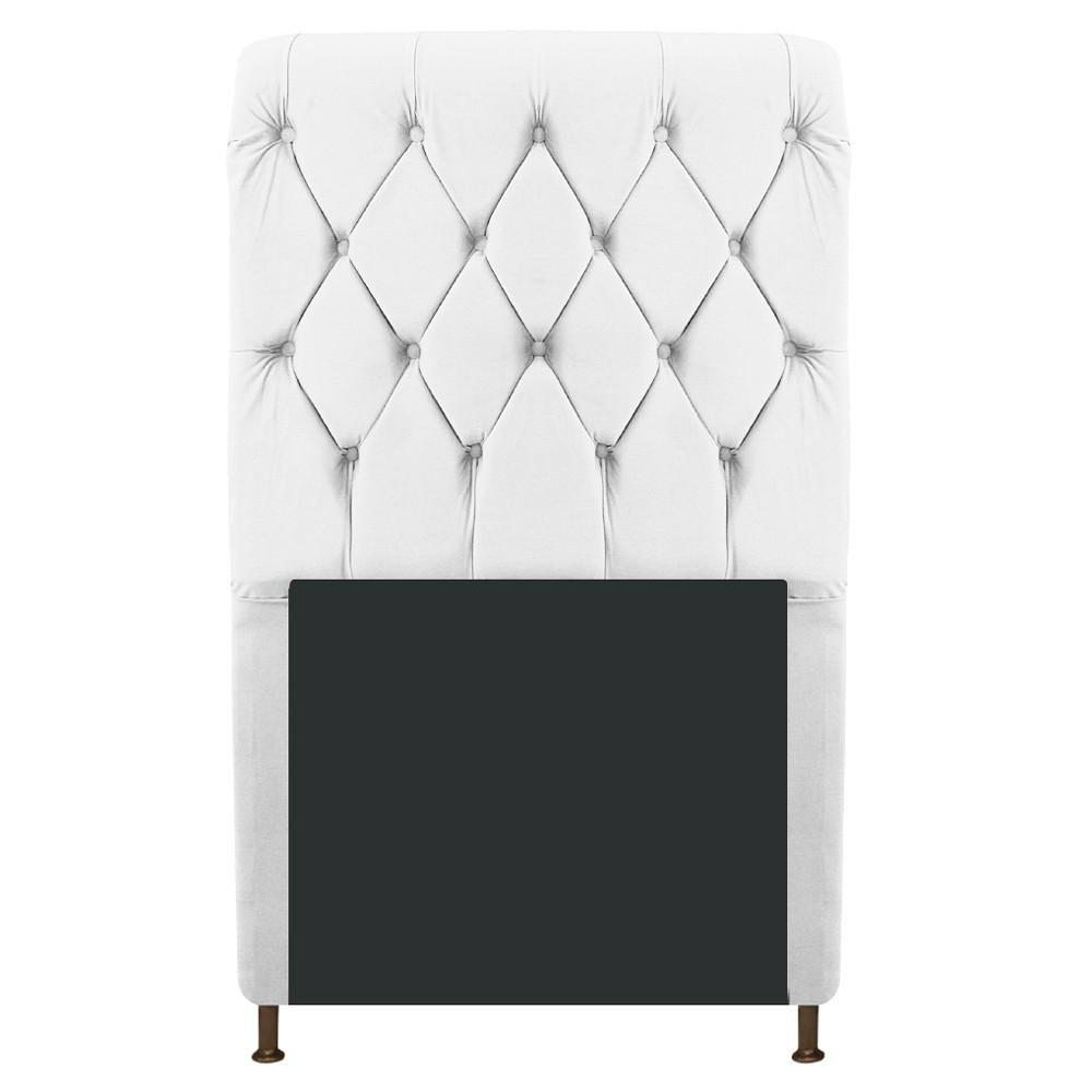 Cabeceira Estofada Cristal 100 cm Solteiro Com Capitonê Suede Branco - ADJ Decor