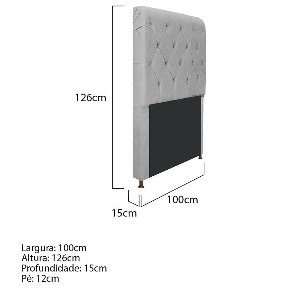 Cabeceira Estofada Cristal 100 cm Solteiro Com Capitonê Suede Cinza - ADJ Decor