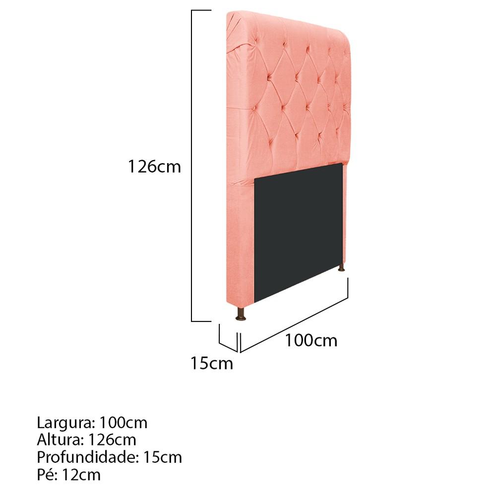 Cabeceira Estofada Cristal 100 cm Solteiro Com Capitonê Suede Coral - ADJ Decor