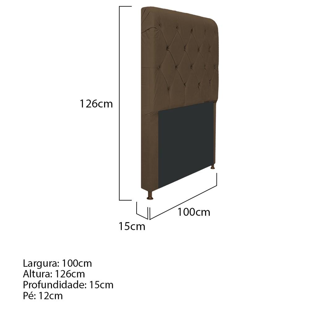 Cabeceira Estofada Cristal 100 cm Solteiro Com Capitonê Suede Marrom - ADJ Decor
