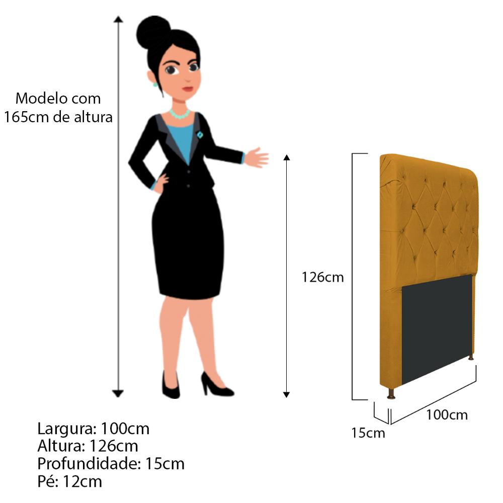 Cabeceira Estofada Cristal 100 cm Solteiro Com Capitonê Suede Mostarda - ADJ Decor