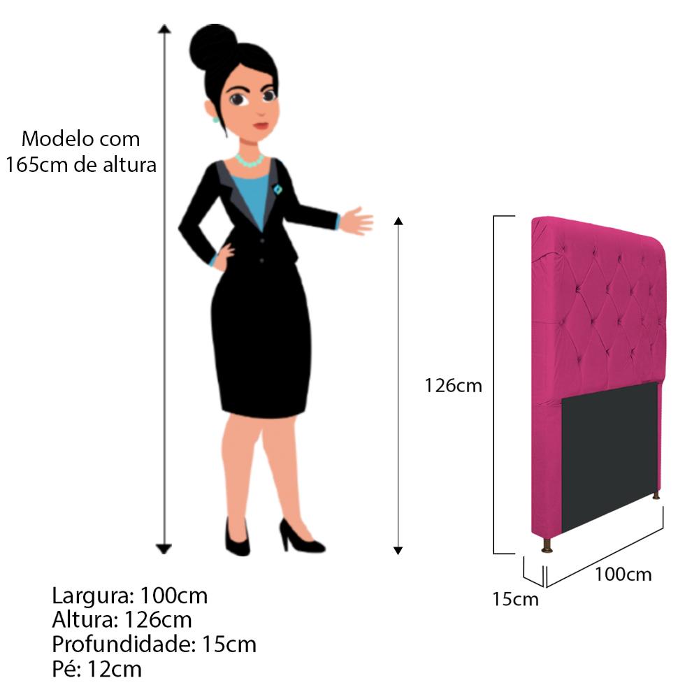 Cabeceira Estofada Cristal 100 cm Solteiro Com Capitonê Suede Pink - ADJ Decor