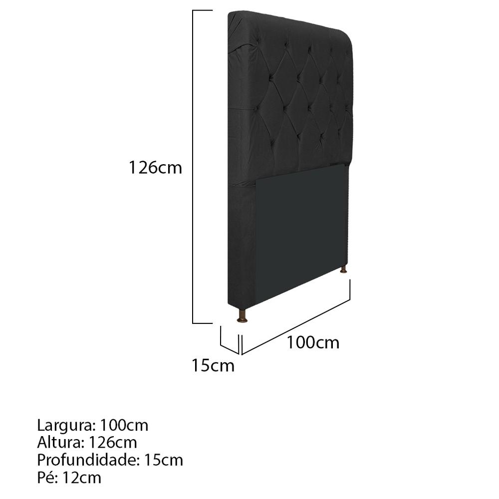 Cabeceira Estofada Cristal 100 cm Solteiro Com Capitonê Suede Preto - ADJ Decor