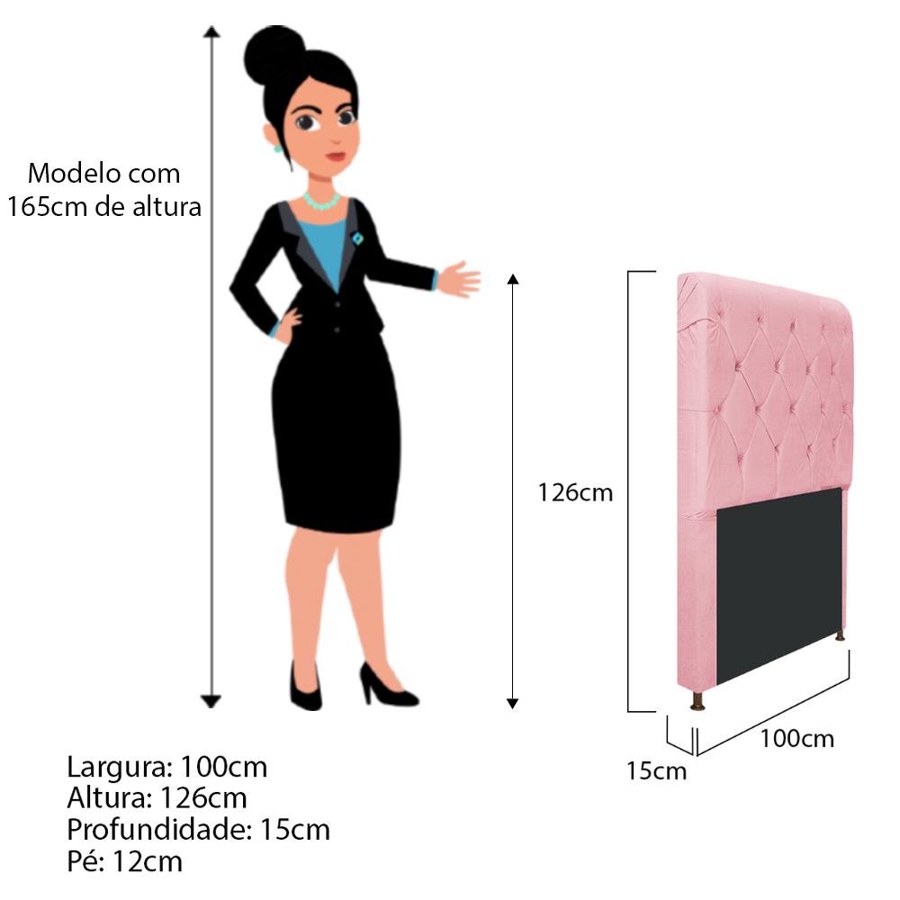 Cabeceira Estofada Cristal 100 cm Solteiro Com Capitonê Suede Rosa Bebê - ADJ Decor