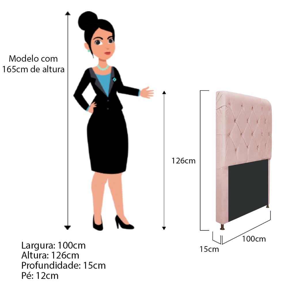 Cabeceira Estofada Cristal 100 cm Solteiro Com Capitonê Suede Rosê - ADJ Decor