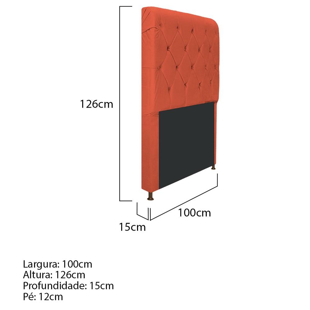Cabeceira Estofada Cristal 100 cm Solteiro Com Capitonê Suede Terracota - ADJ Decor