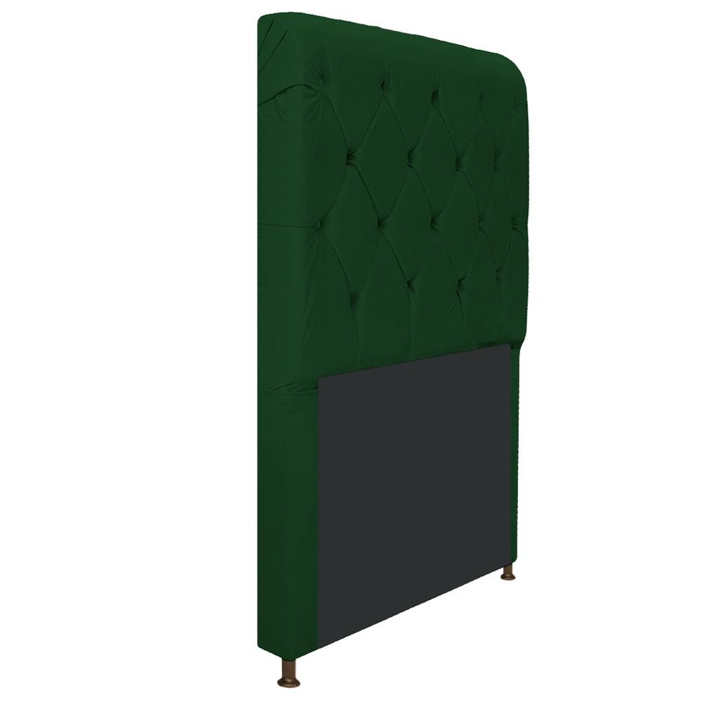 Cabeceira Estofada Cristal 100 cm Solteiro Com Capitonê Suede Verde - ADJ Decor