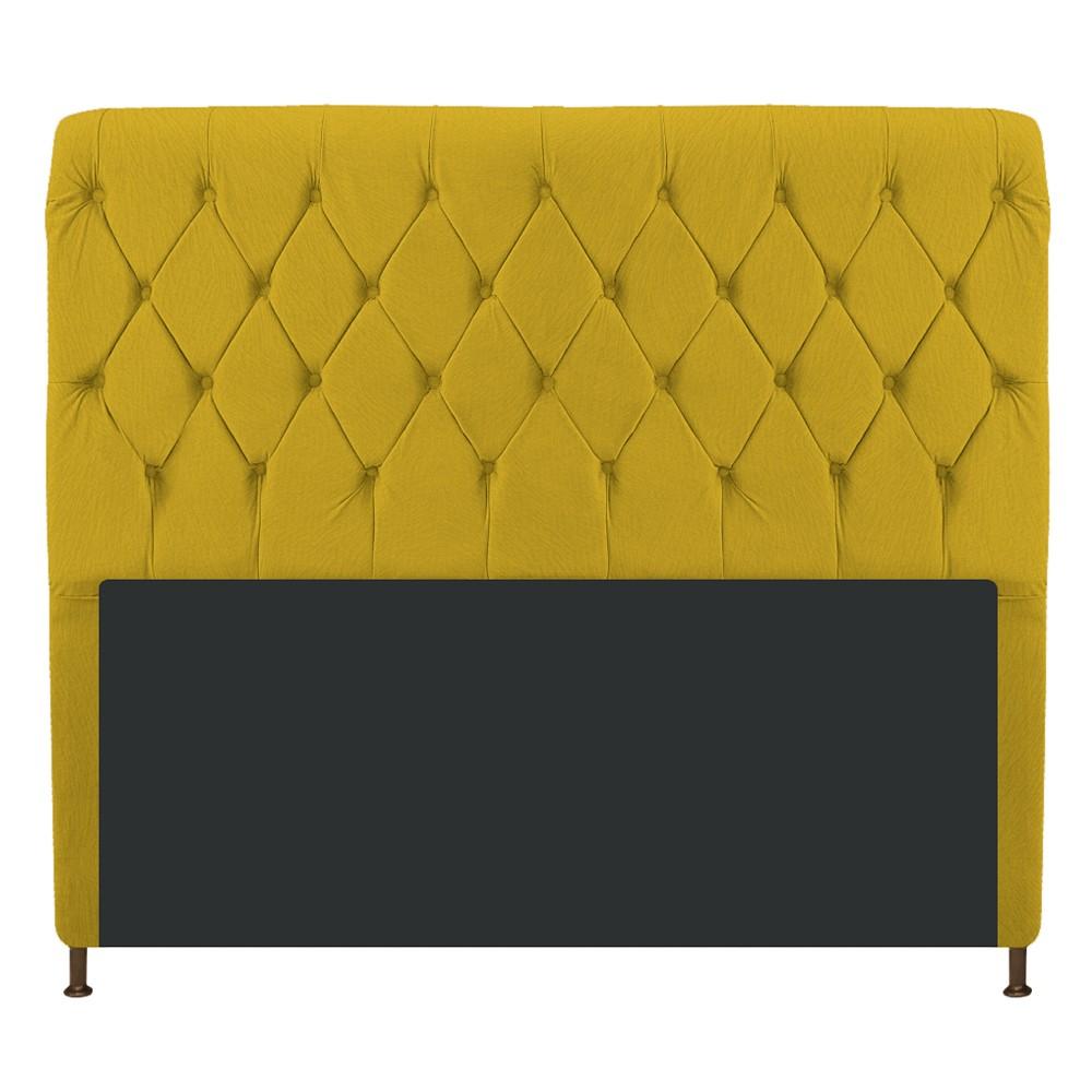Cabeceira Estofada Cristal 140 cm Casal Com Capitonê  Suede Amarelo - ADJ Decor