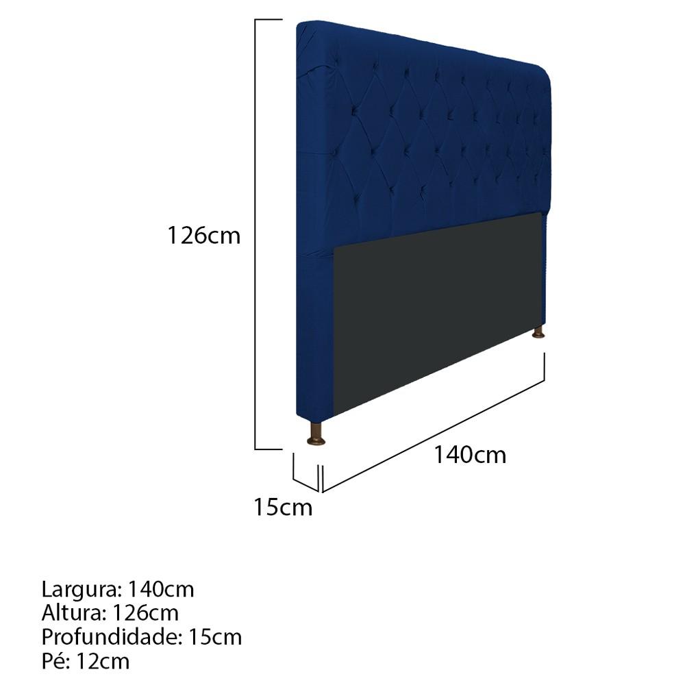 Cabeceira Estofada Cristal 140 cm Casal Com Capitonê  Suede Azul Marinho - ADJ Decor