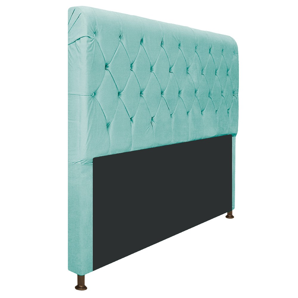 Cabeceira Estofada Cristal 140 cm Casal Com Capitonê  Suede Azul Tiffany - ADJ Decor