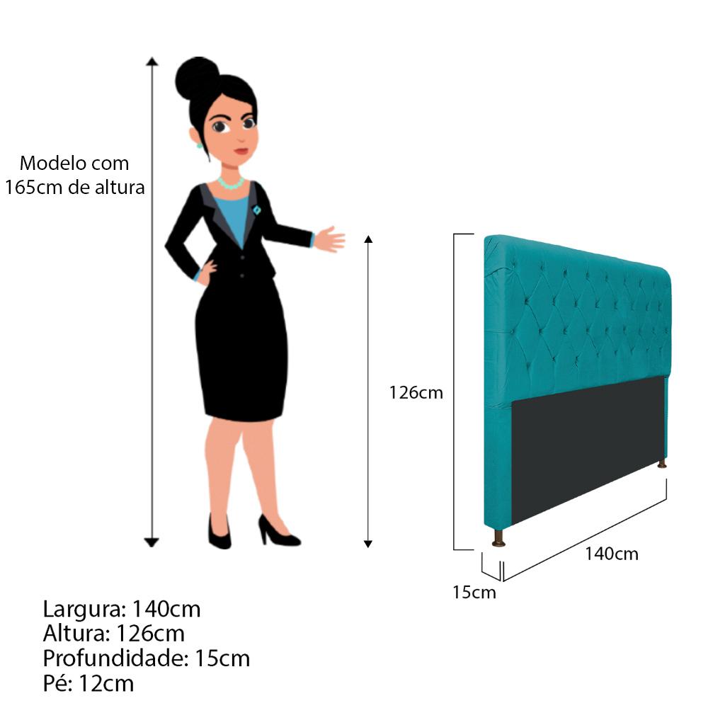 Cabeceira Estofada Cristal 140 cm Casal Com Capitonê  Suede Azul Turquesa - ADJ Decor