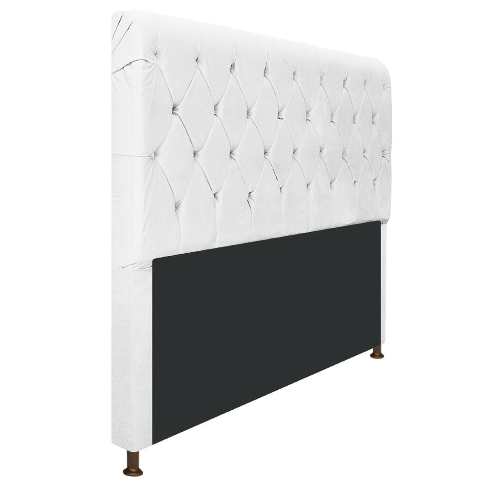 Cabeceira Estofada Cristal 140 cm Casal Com Capitonê  Suede Branco - ADJ Decor
