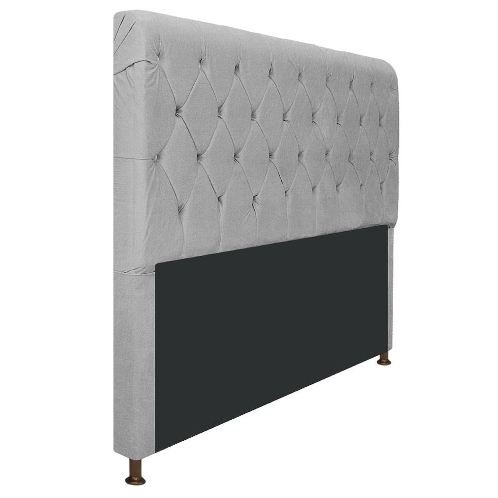 Cabeceira Estofada Cristal 140 cm Casal Com Capitonê  Suede Cinza - ADJ Decor