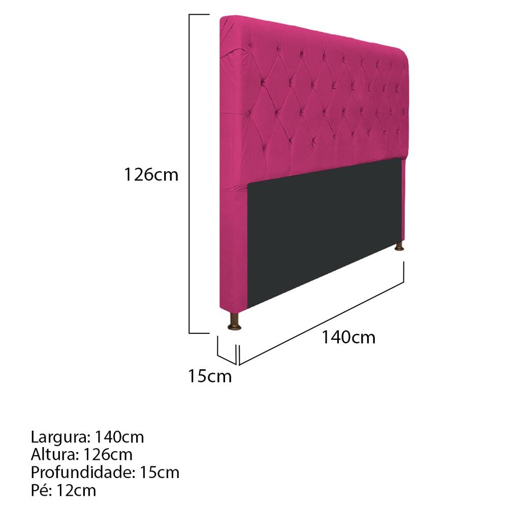 Cabeceira Estofada Cristal 140 cm Casal Com Capitonê  Suede Pink - ADJ Decor