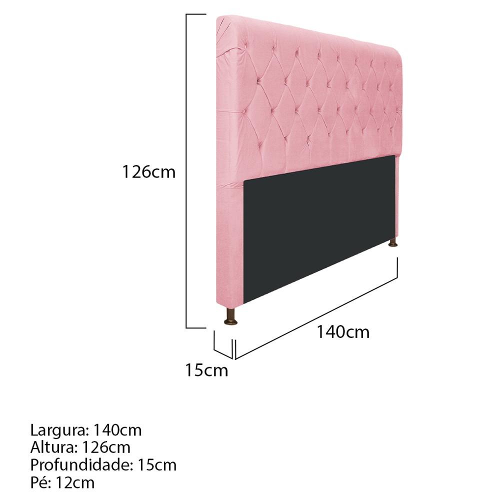 Cabeceira Estofada Cristal 140 cm Casal Com Capitonê  Suede Rosa Bebê - ADJ Decor