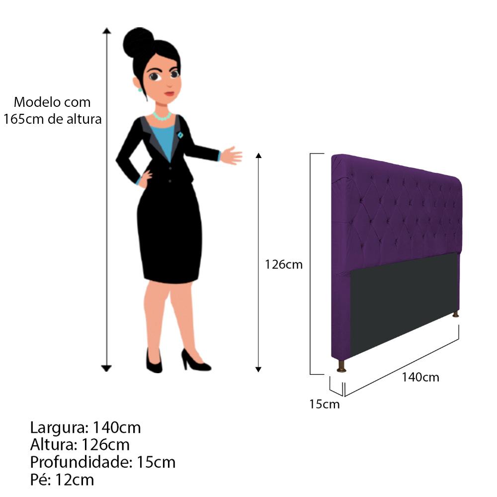 Cabeceira Estofada Cristal 140 cm Casal Com Capitonê  Suede Roxo - ADJ Decor