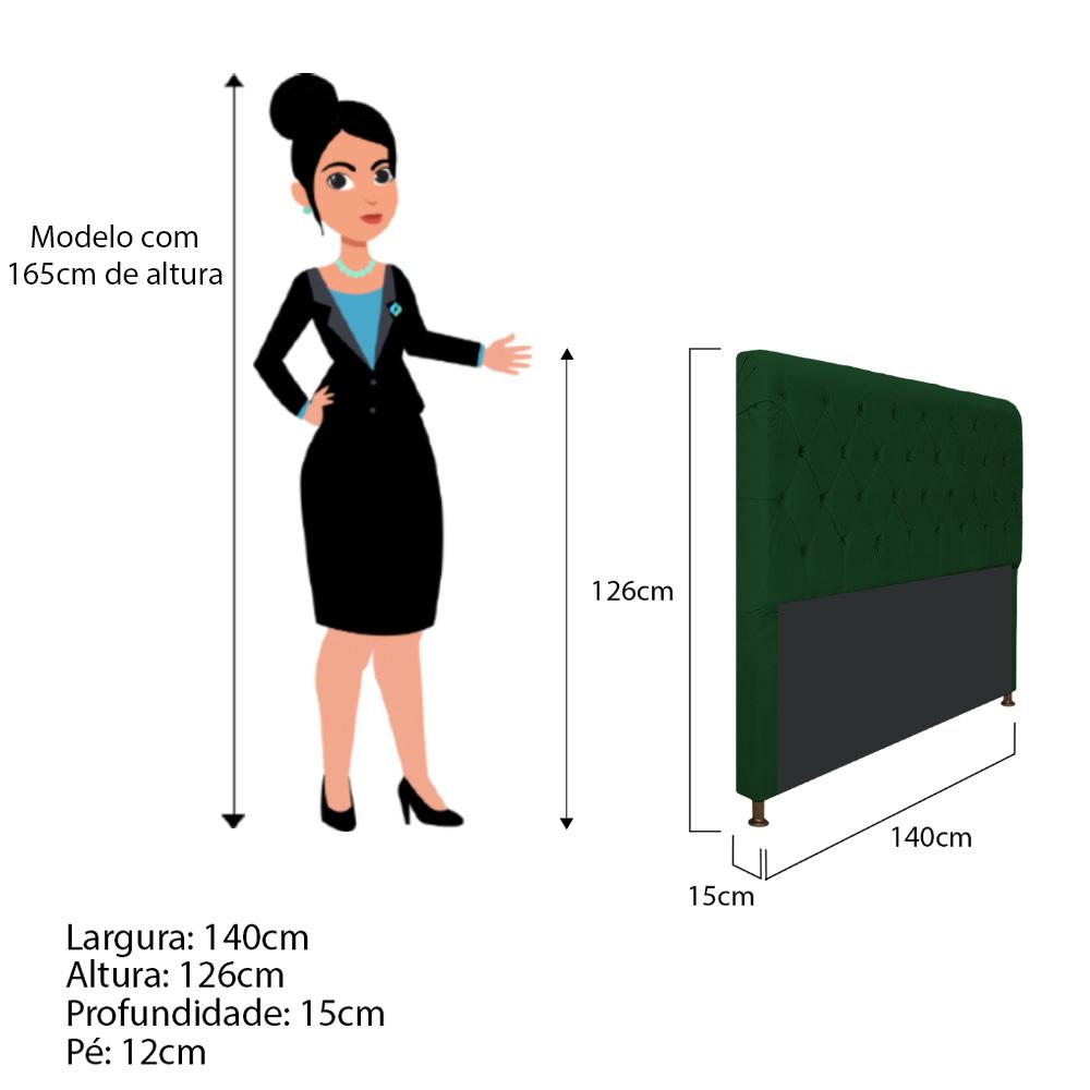 Cabeceira Estofada Cristal 140 cm Casal Com Capitonê  Suede Verde - ADJ Decor