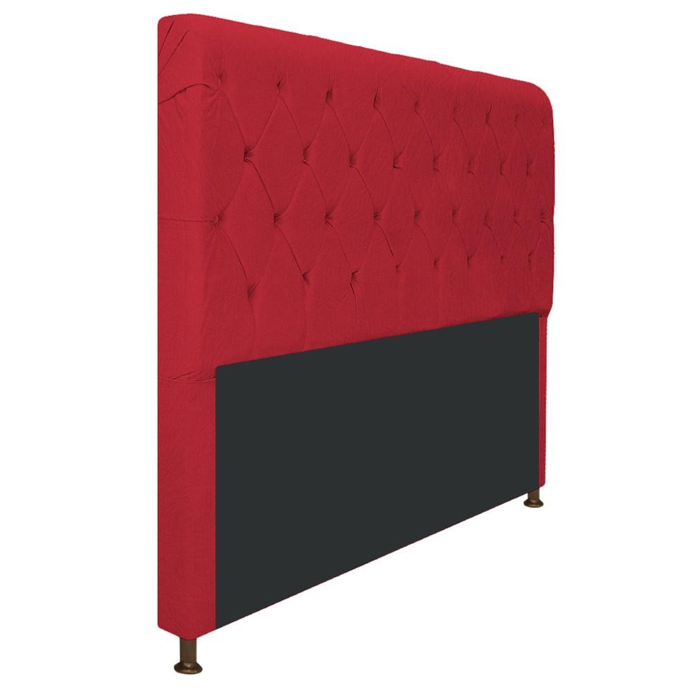 Cabeceira Estofada Cristal 140 cm Casal Com Capitonê  Suede Vermelho- ADJ Decor