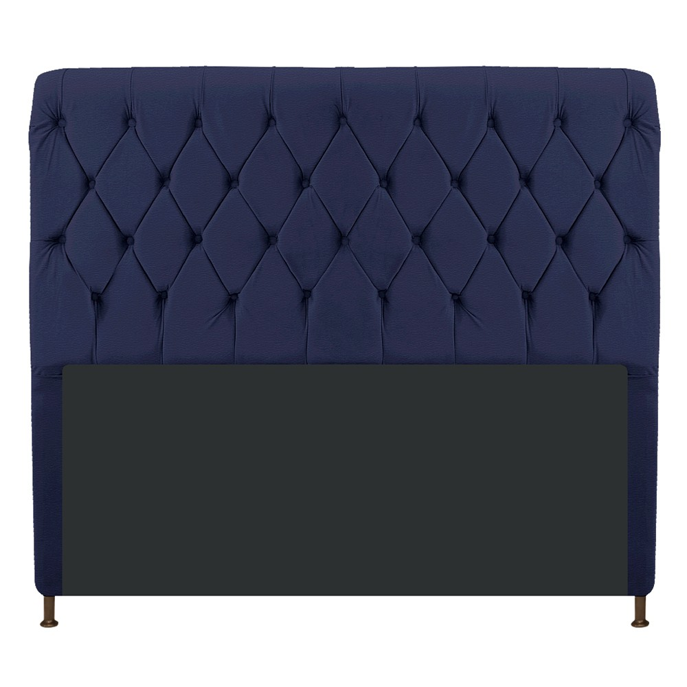 Cabeceira Estofada Cristal 140 cm Casal Com Capitonê Corano Azul Marinho - ADJ Decor