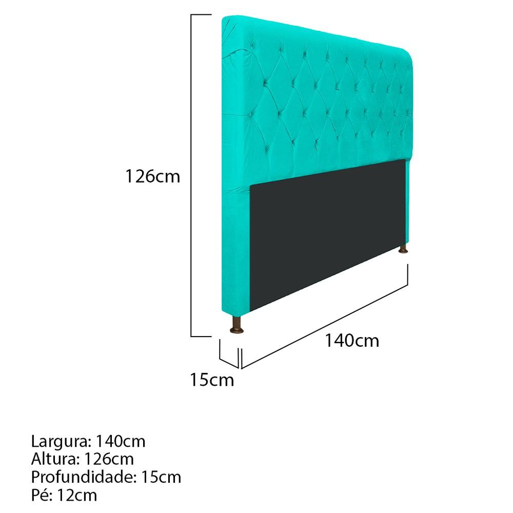 Cabeceira Estofada Cristal 140 cm Casal Com Capitonê Corano Azul Turquesa - ADJ Decor