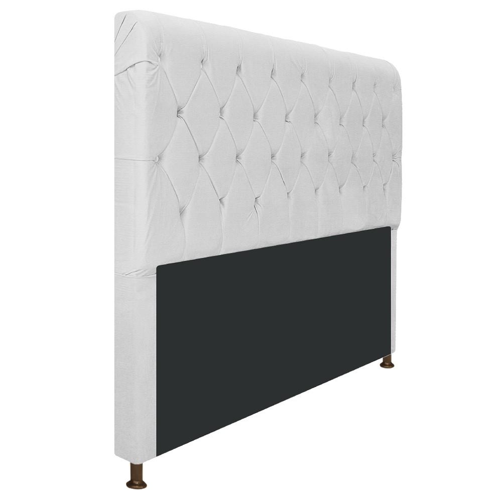 Cabeceira Estofada Cristal 140 cm Casal Com Capitonê Corano Branco - ADJ Decor