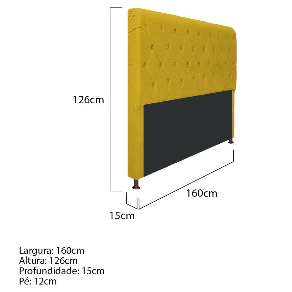 Cabeceira Estofada Cristal 160 cm Queen Size Com Capitonê Suede Amarelo - ADJ Decor