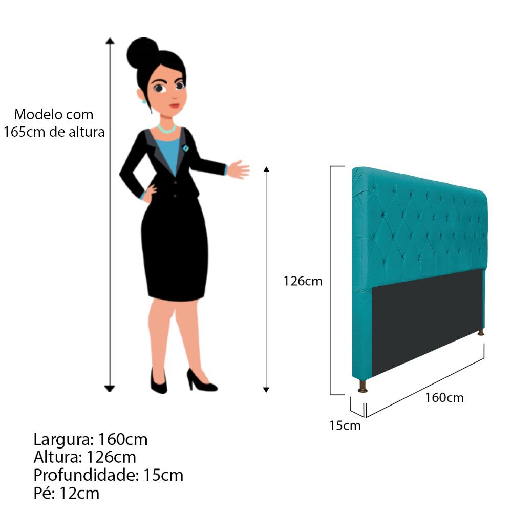 Cabeceira Estofada Cristal 160 cm Queen Size Com Capitonê Suede Azul Turquesa - ADJ Decor