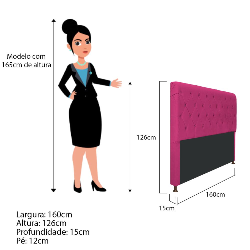 Cabeceira Estofada Cristal 160 cm Queen Size Com Capitonê Suede Pink - ADJ Decor