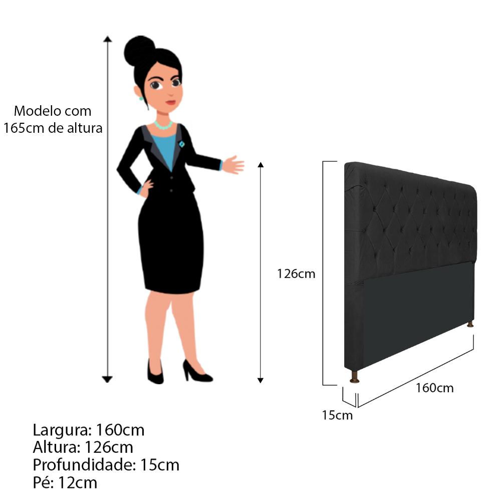 Cabeceira Estofada Cristal 160 cm Queen Size Com Capitonê Suede Preto - ADJ Decor