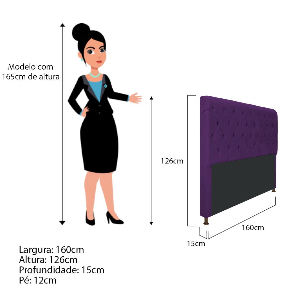 Cabeceira Estofada Cristal 160 cm Queen Size Com Capitonê Suede Roxo - ADJ Decor