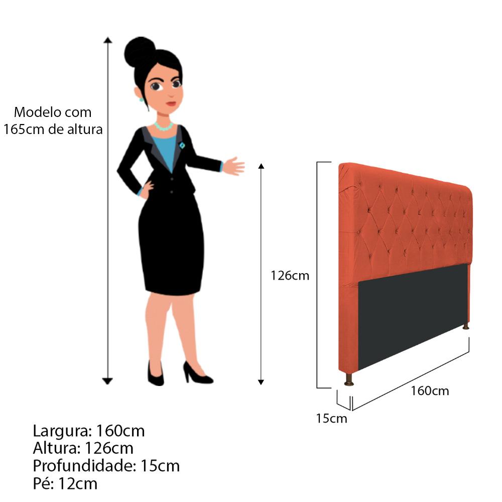 Cabeceira Estofada Cristal 160 cm Queen Size Com Capitonê Suede Terracota - ADJ Decor