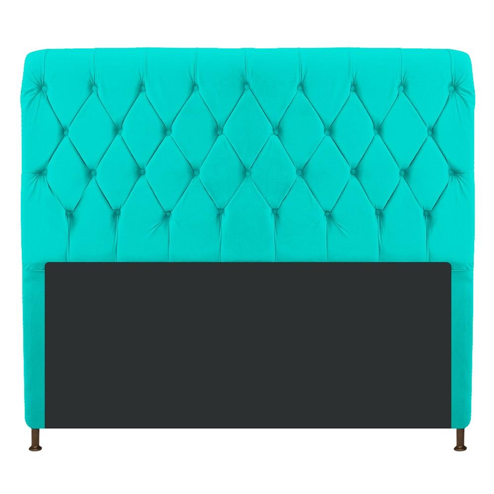 Cabeceira Estofada Cristal 160 cm Queen Size Com Capitonê Corano Azul Turquesa - ADJ Decor