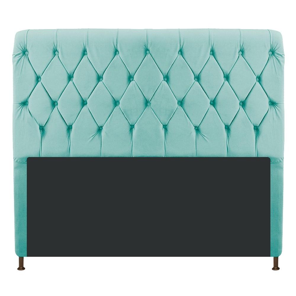 Cabeceira Estofada Cristal 195 cm King Size Com Capitonê Suede Azul Tiffany - ADJ Decor