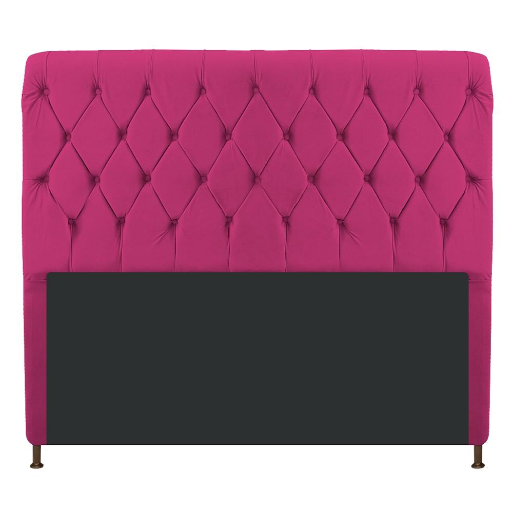 Cabeceira Estofada Cristal 195 cm King Size Com Capitonê Suede Pink - ADJ Decor
