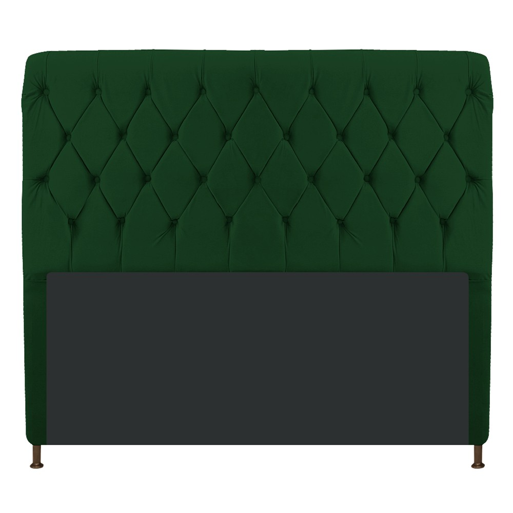 Cabeceira Estofada Cristal 195 cm King Size Com Capitonê Suede Verde - ADJ Decor