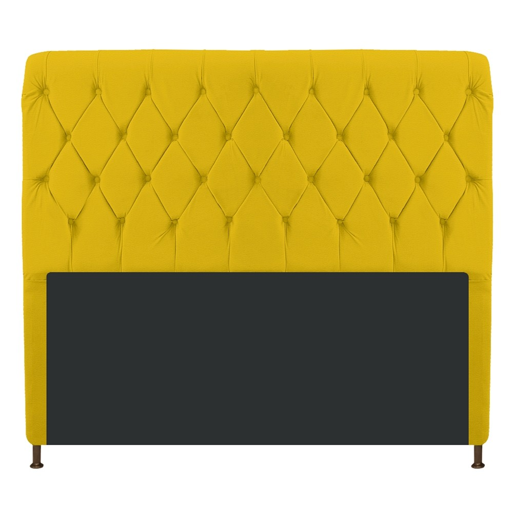 Cabeceira Estofada Cristal 195 cm King Size Com Capitonê Corano Amarelo - ADJ Decor