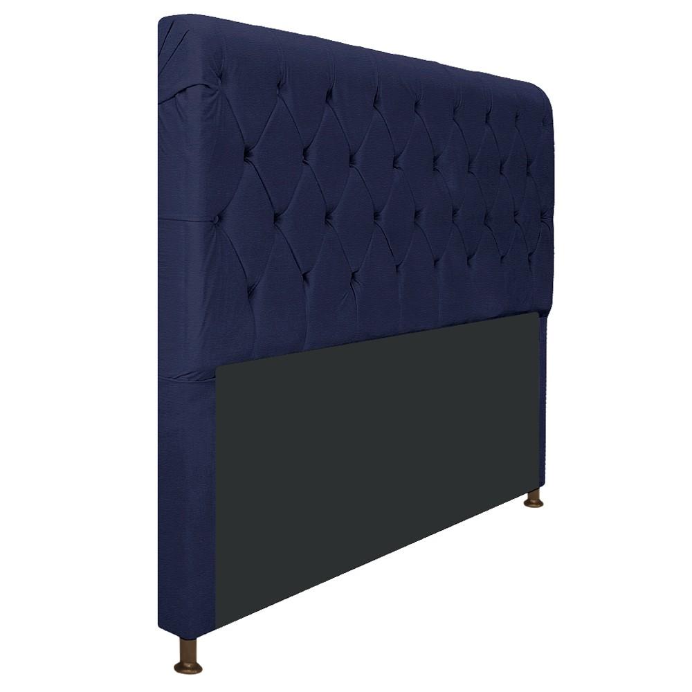 Cabeceira Estofada Cristal 195 cm King Size Com Capitonê Corano Azul Marinho - ADJ Decor