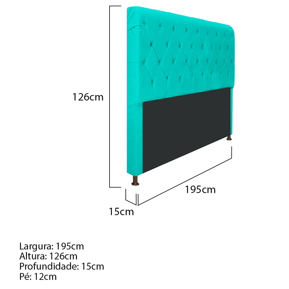 Cabeceira Estofada Cristal 195 cm King Size Com Capitonê Corano Azul Turquesa - ADJ Decor