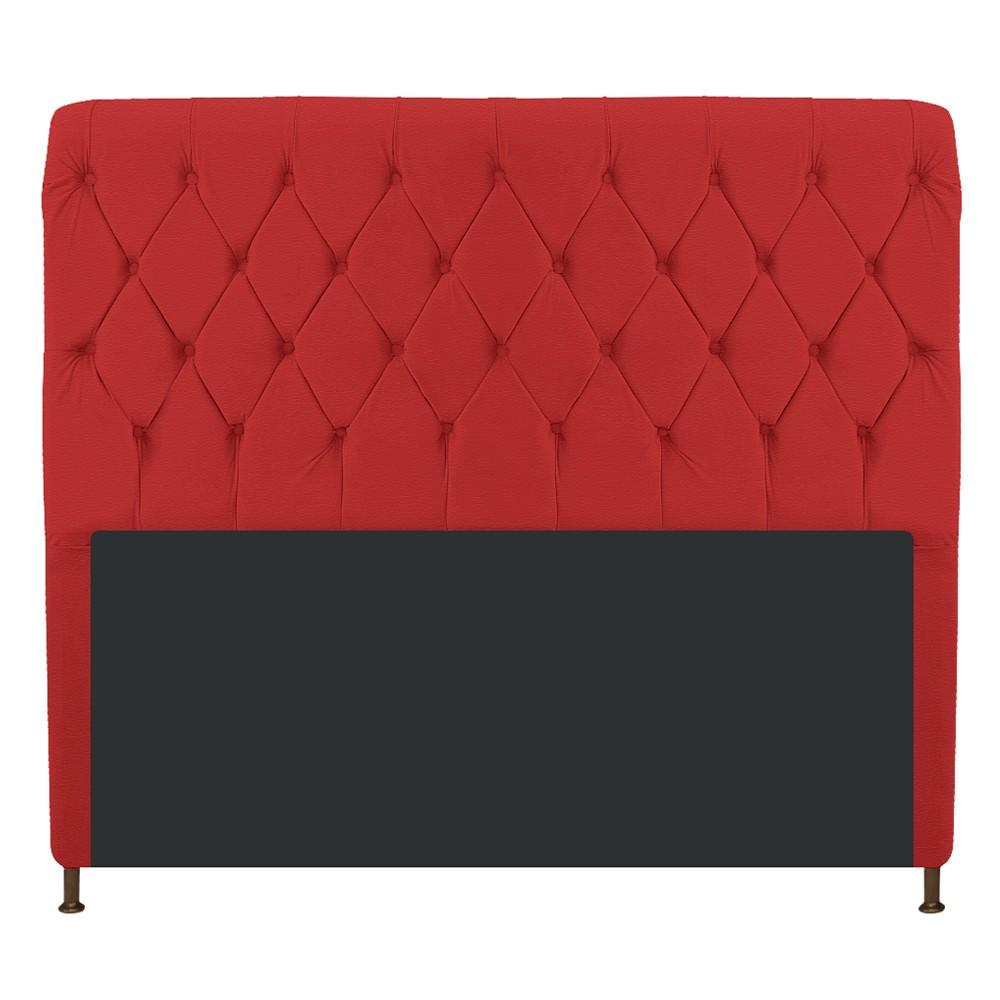 Cabeceira Estofada Cristal 195 cm King Size Com Capitonê Corano Vermelho - ADJ Decor